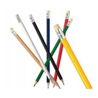 ołówki kolorowe z gumką i nadrukiem